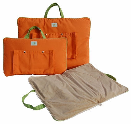 "Jennifer Brooks LLC ""Zip Tote"" Portable Dog Bed in Color Tangerine - Daisey's Doggie Chic"
