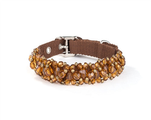 Scrumptiously ''Fabuleash'' Bling Beaded Collar in color Topaz - Daisey's Doggie Chic
