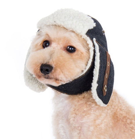 Shearling Trapper Hat for Dogs - Sizes XS to XL - Shown in Dark Denim ... 82ec98a5d