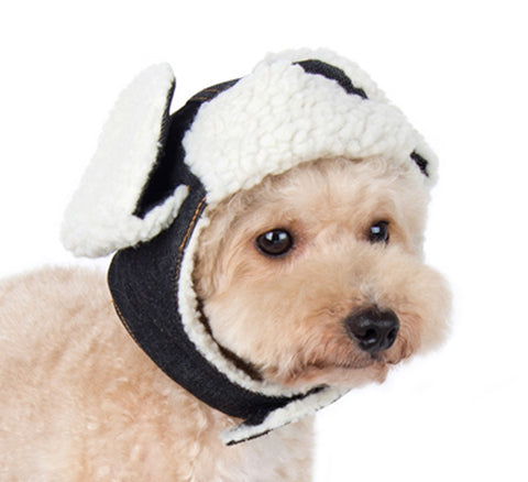 32cf5ea4cc7 Faux shearling trapper hat for dogs in dark denim daisey doggie chic jpg  480x438 Dog trapper