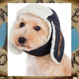 Shearling Trapper Hat for Dogs - Sizes XS to XL - Shown in Dark Denim - Daisey's Doggie Chic
