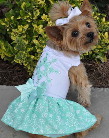 """Crystals & Snowflakes"" Turquoise Harness Party Dress with Matching Leash - Daisey's Doggie Chic"