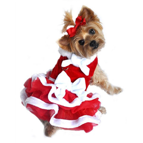 Mrs. Claus Velvet/Chiffon Santa Girl Harness Dress in color Holiday Red - Daisey's Doggie Chic