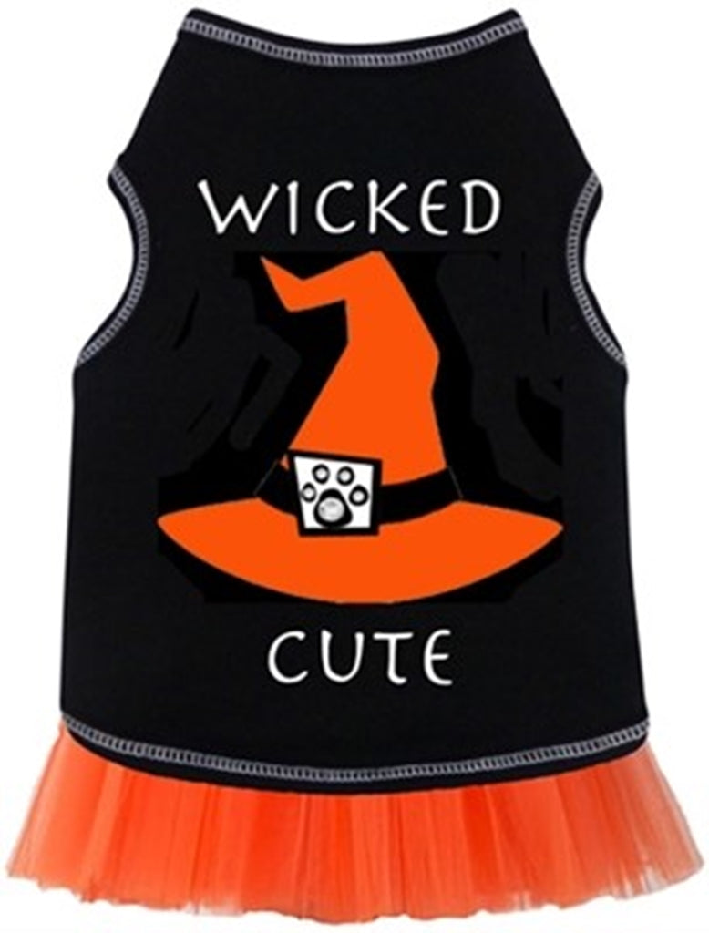 Wicked Cute Witch's Hat Tulle Skirted Tank Dress in color Black/Orange - Daisey's Doggie Chic