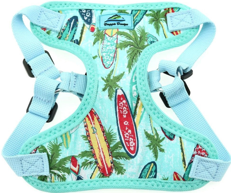 Wrap-Snap-n-Go  Choke-Free Harness in Surfboard Palms Print - Daisey's Doggie Chic