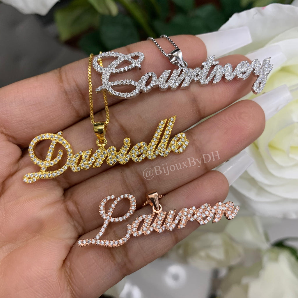 CZ Bail Name Necklace