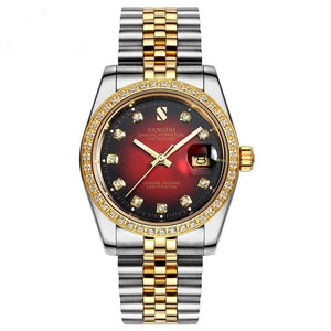 Men's Stainless Steel Sangdo Red-Ombré Face Automatic Watch