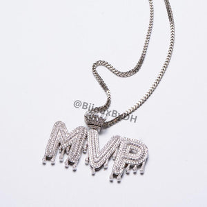 Crowned Drip Letter Name Necklace