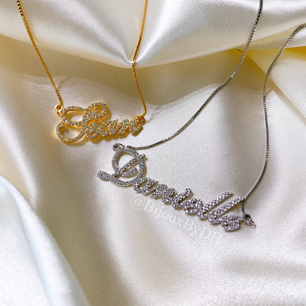 Cursive Name Necklace - CZ
