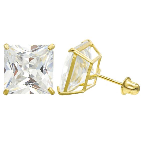14K Solid Gold Princess Cut Stud