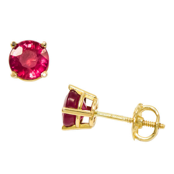 14k Solid Gold Ruby Stud