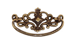 "Solid Brass Victorian Drop Pull ~ 3"" On Centers - Antique Brass Finish"