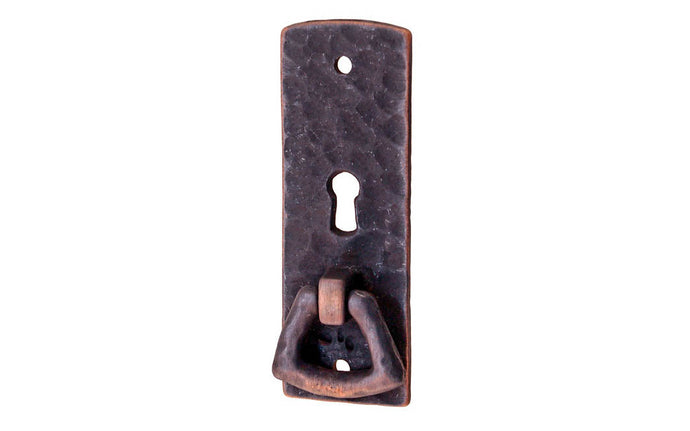 Solid Brass Hammered Keyhole & Drop Pull ~ Antique Copper Finish