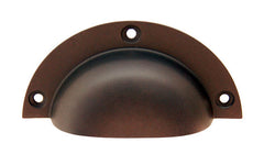 "Large Stamped Brass Bin Pull ~ 3-3/4"" Wide ~ Oil Rubbed Bronze Finish"
