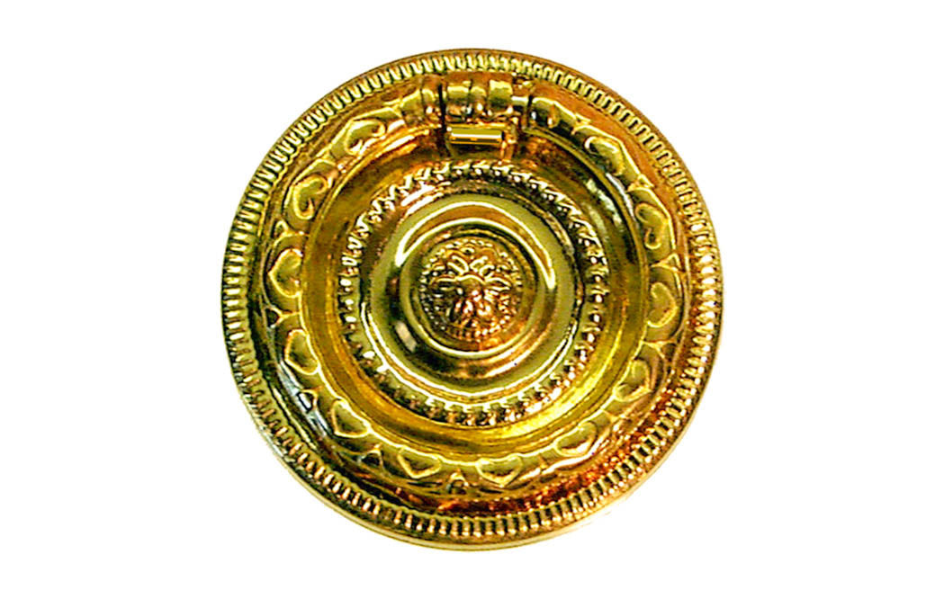 Stamped Brass Ornate Ring Pull ~ Larger Size ~ Non-Lacquered Brass (will patina naturally over time)