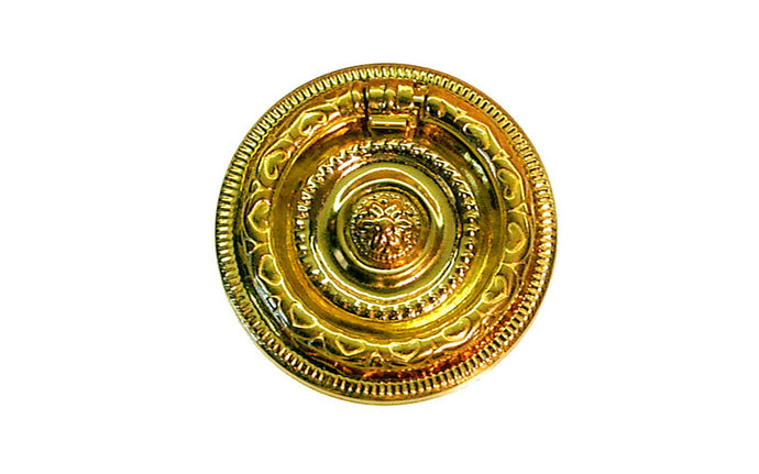 Stamped Brass Ornate Ring Pull ~ Smaller Size ~ Non-Lacquered Brass (will patina naturally over time)