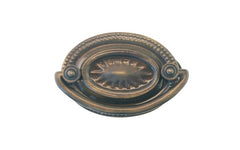 "Antique Brass Oval Heppelwhite Drop Pull ~ 2"" On Centers  Traditional Heppelwhite & Sheraton style - Antique Brass Finish"