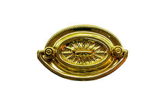 "Brass Oval Heppelwhite Drop Pull ~ 2"" On Centers  Traditional Heppelwhite & Sheraton style - Non-Lacquered Brass"