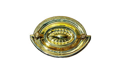 "Brass Oval Heppelwhite Drop Pull ~ 2-1/2"" On Centers - Designed in a traditional Heppelwhite & Sheraton style with a lovely sunburst pattern - Non-Lacquered Brass"