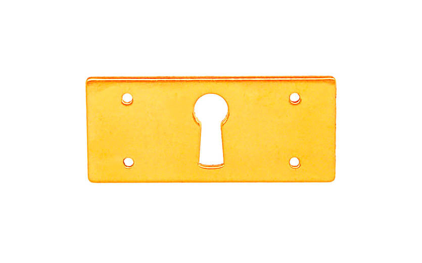 Solid Brass Rectangle Keyhole ~ Non-Lacquered Brass (will patina naturally over time)