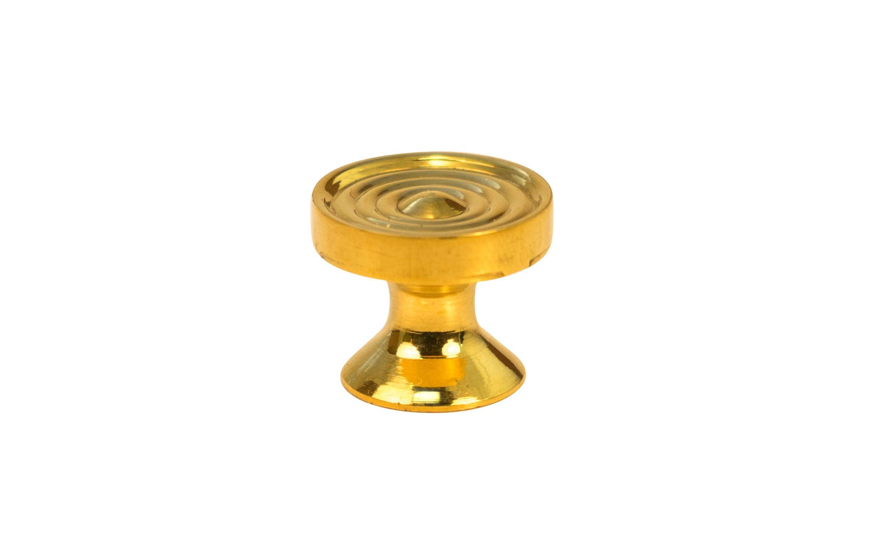 Solid Brass Mini Knob with Concentric Rings ~ 5/8