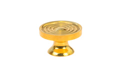 "Solid Brass Mini Knob with Concentric Rings ~ 7/8"" Diameter ~ Non-Lacquered Brass (will patina naturally over time)"