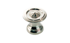 "Solid Brass ""Flower"" Knob ~ 1"" Diameter ~ Polished Nickel Finish"