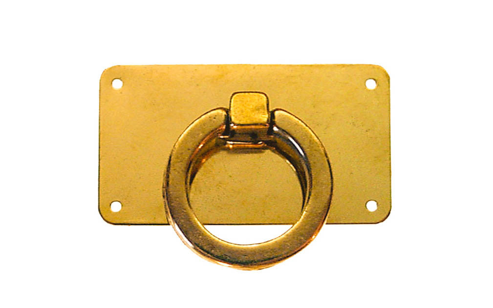 Solid Brass Drop Ring Pull with Rectangle Plate ~ Non-Lacquered Brass (will patina naturally over time)
