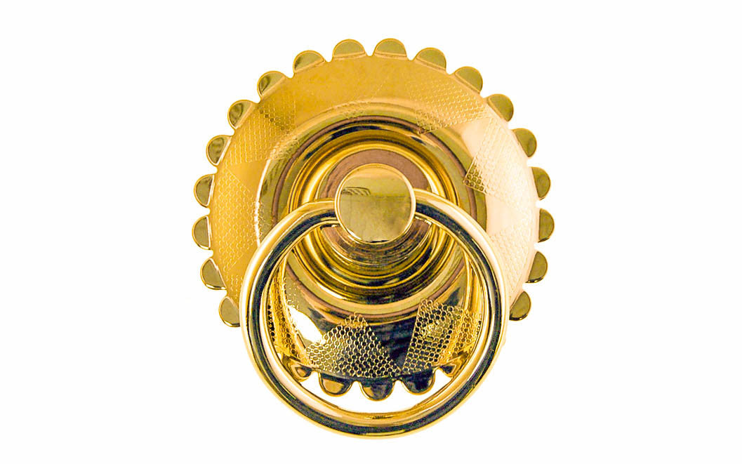 Solid Brass Large Drop Ring Pull ~ Non-Lacquered Brass (will patina naturally over time)