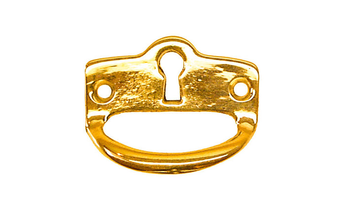 Solid Brass Finger Pull Keyhole ~ Non-Lacquered Brass (will patina naturally over time)