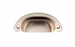 "Classic Brass Half-Round Bin Pull ~ 2-1/2"" On Centers ~ Brushed Nickel Finish"