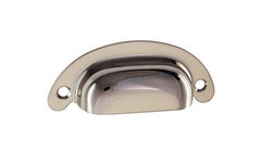 "Classic Brass Half-Round Bin Pull ~ 2-1/2"" On Centers ~ Polished Nickel Finish"