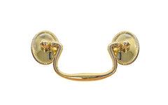 "Solid Brass Colonial-Style Drop Pull ~ 3"" On Centers - Non-Lacquered Brass (Will patina over time)"