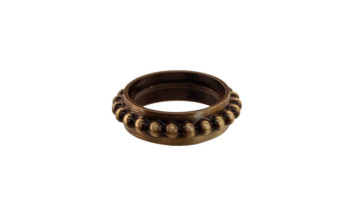 Solid Brass Caster Ring With Beaded Design ~ Antique Brass Finish