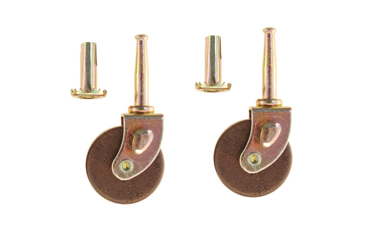 Pair of Steel Grip-Neck Casters With Hardwood Wheels ~ 1-5/8