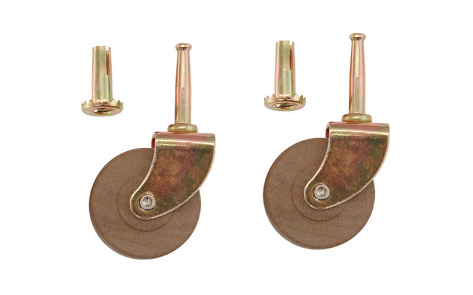 Pair of Steel Grip-Neck Casters With Hardwood Wheels ~ 2