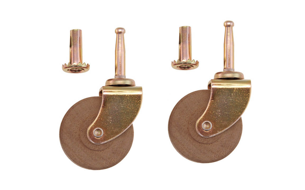Pair of Ball Bearing Steel Grip-Neck Casters With Hardwood Wheels ~ 2