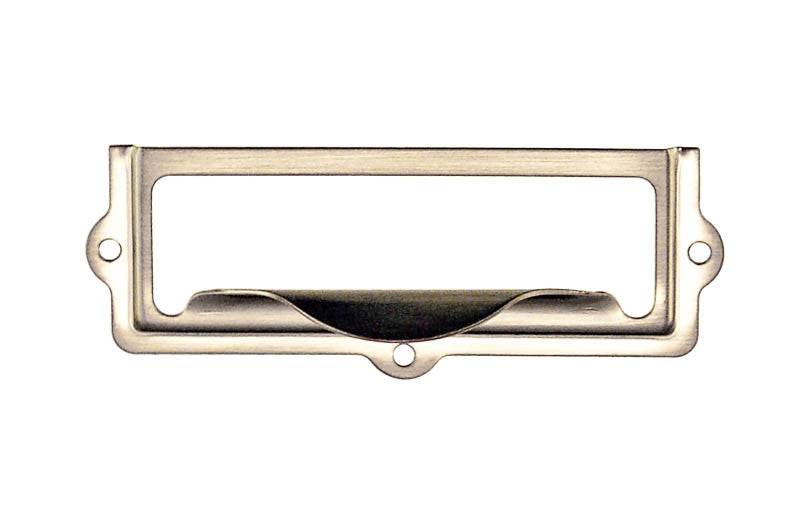 Stamped Brass Label Holder with Pull ~ 2-7/8