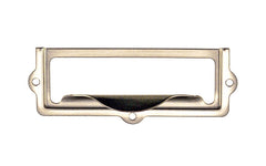 "Stamped Brass Label Holder with Pull ~ 2-7/8"" x 1"" ~ Brushed Nickel Finish"