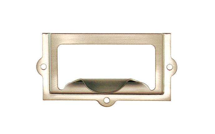 Stamped Brass Label Holder with Pull ~ 2-3/8