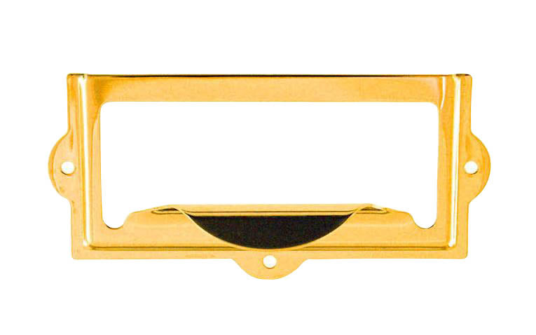 Stamped Brass Label Holder with Pull ~ 3-1/8
