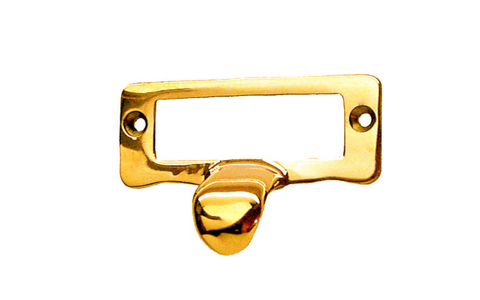 Solid Brass Label Holder with Finger Pull ~ Non-Lacquered Brass (will patina naturally over time)