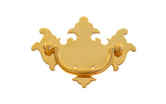 "Solid Brass Chippendale Drop Pull ~ 2-1/2"" On Centers - Non-Lacquered Brass (will patina over time)"