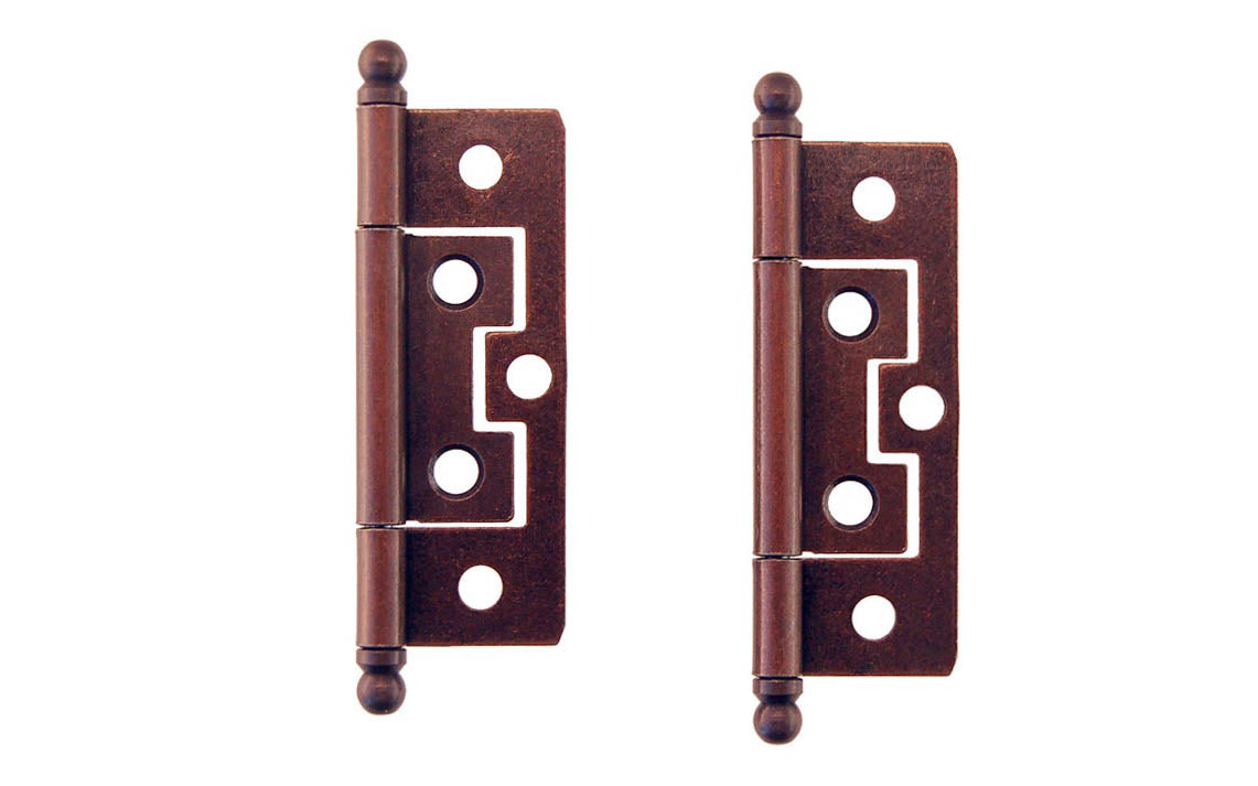 Picture of: 2 1 2 Non Mortise Ball Tip Cabinet Hinges Antique Copper Finish