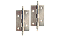 "Plated Steel Steeple-Tip Cabinet Hinges ~ 2-1/2"" x 1-5/8"" ~ Brushed Nickel Finish"