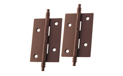 "Plated Steel Steeple-Tip Cabinet Hinges ~ 2-1/2"" x 1-5/8"" ~ Oil Rubbed Bronze Finish"