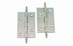 "Plated Steel Steeple-Tip Cabinet Hinges ~ 2-1/2"" x 1-5/8"" ~ Polished Nickel Finish"