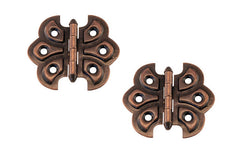 "Embossed Ornamental Cabinet Hinges ""Butterfly Style"" ~ 2-3/8"" x 2-1/8"" ~ Antique Copper Finish"