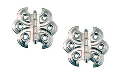 "Embossed Ornamental Cabinet Hinges ""Butterfly Style"" ~ 2-3/8"" x 2-1/8"" ~ Polished Nickel Finish"