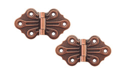 "Embossed Ornamental Cabinet Hinges ""Butterfly Style"" ~ 2-7/8"" x 1-5/8"" ~ Antique Copper Finish"